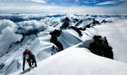 Darrin Fast of the BCMC approaching the summit of Dione via the South West Face (AD). Tantalus Range, British Columbia.<br>© Andrew Marshall