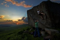 Bouldering in the last of the light at Stanage