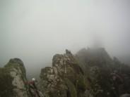 Climbing the ridge in fine weather