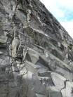 Recent rockfall scar high on Central Gully Wall