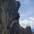Ascending overhanging traverse on VF Ski Club 18