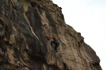 Rich checking out the crux sequence on hanging by a thread