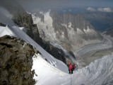 High on the Rochefort Ridge with the Chamonix Aiguilles and Mer de Glace below<br>© Robin Beadle