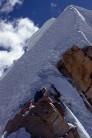 Rich at an airy bivi just below the summit of Casiri Este, Cordillera Real, Bolivia, 5950m.
