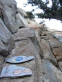 The routes have beautifully painted name plaques at the base<br>© Chrissi Igel
