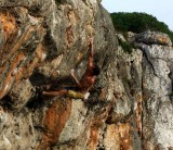 Adam Brown sending Transexual (7b) at the Metrosexual area, Cala Barques