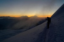 Dawn breaking on the way up the Allalinhorn.