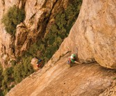 Kevin Sales on the first pitch of Jaws, E1 5b, Tower 1, The White Dome, Ida Ougnidif Area, Morocco, photo Emma Alsford
