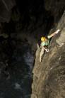 Charlie Woodburn enjoying the technicalities to be found on the stunning wall climb Splendour, E3 5c