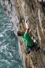 Neil Mawson making the second trad ascent of San Simeon E8 6c in 2011