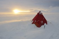 A BAS pyramid tent used during an Antarctic Peninsula winter field trip.