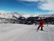 Beautiful slalom piste, skiing in Les Coches.