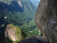 Traverse pitch of Dedo de Deus ( Finger of God - Rio de Janeiro ). Brilliant friction climbing....just don't look down!