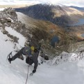 Finishing the upper pitch of C Gully/BC Buttress, Y Garn<br>© Colin Wells
