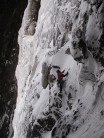Crag Jones heading out left at the fork on pitch 4 of Raven's Gully, Buchaille Etive Mor