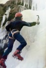 Steve Wilkinson ice climbing at Thievley Scout, Cliviger, Lancashire, in 1985.