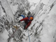 Pick Nicker V,6 ***, Excellent steep, well protected, quartzite mixed climbing.