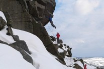 Flying on Flying Buttress Direct in the snow.