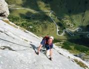 Looking down the long slab of Eterna Brigata VF, Marmolada, Dolemites