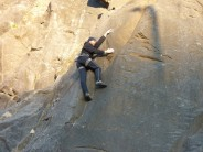 Rich deep in concentration on Smoove Groove, E5, Sea Walls, Avon Gorge