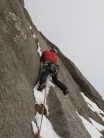 Pitch 1, climbing through the lower slabs (FA After the Storm)