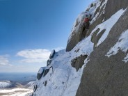 The final chimney pitch below the summit