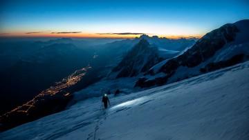 Hulya Vassail on the north ridge of Dôme du Goûter, heading toward Mont Blanc.