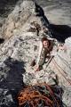 Grin of terror - Nick's first ever climb, Carrot Ridge.<br>© Gripped