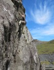 norman clacher following  a first ascent in the Moelwyn
