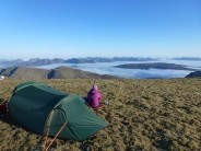 Breakfast with a view from summit of Sgurr a Chaorachain