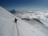 """Descending the """"Autobahn"""" above 17,200 ft camp on Denali after summiting in fantastic weather<br>© CrapClimber"""