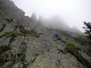 Pitch 5 (but our 1st pitch as failed to find the start of the route in the mist!)