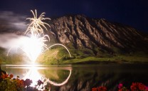 Fireworks and hills