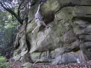 Greg Lucas on Identity Crisis, 6b, Jockey's Wood Rocks (Penns Rocks), 2009