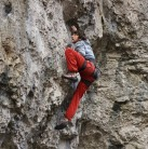 At the redpoint crux - one move away from glory!