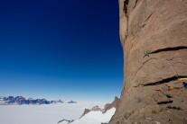 Sean Leary leads onto the final headwall, NE ridge of Ulvetanna, Antarctica. Taken from 'The Last Great Climb'.