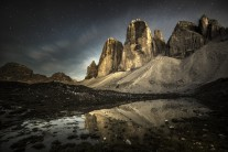 The Tre Cime di Lavaredo by night