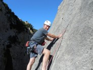Steve enjoying the sunshine on the highly recommended La Traversee 5b