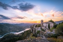 Sunset over the old church at Siurana village