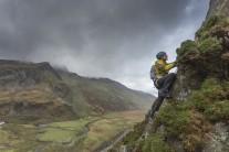 Climbing up towards Pinnacle Ridge, Snowdonia