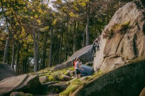 Summertime bouldering at the Roaches.