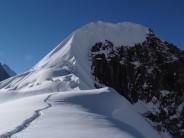 Climbers on Tharpu Chuli summit ridge. Annapurnas
