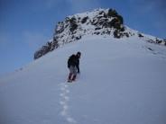 Pen y Ghent Red Pencil Crag in winter conditions