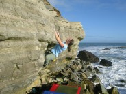 Sophie Nunn on the Lunchtime bouldering, Swanage