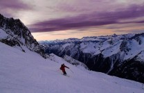 Henry Armitage enjoying the dusk colours and perfect snow on the Grand Montets.