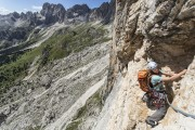 Climbing on Punta Emma in the Catinaccio Group<br>© James Rushforth