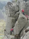 trish1968 and Nick Bennett on the final pitch of Flying Buttress Dinas Cromlech.