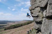 Getting spat off the crux of The Link, Stanage Popular.<br>© Darren Percival
