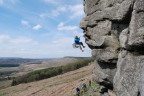 Getting spat off the crux of The Link, Stanage Popular.