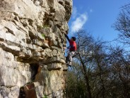 Climbing the lovely arête of route 6